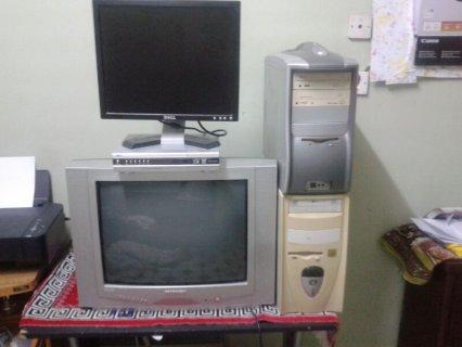 للبيع كمبيوترين+ شاشة كمبيوتر +رسيفر + تلفزيون